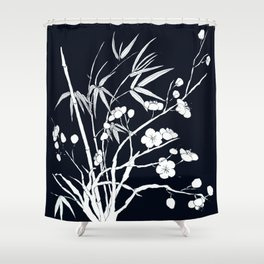 bamboo and plum flower white on black Shower Curtain