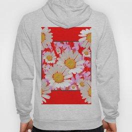 MODERN  DAISY FLOWER  RED ABSTRACT ART DESIGN Hoody