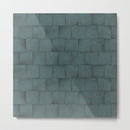 Grey Blue Squared Stone Blocks Wall Texture Metal Print