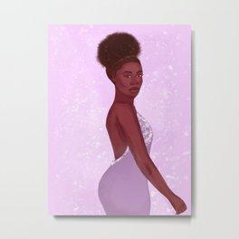 Lilac Black Girl Fashion Glam Metal Print