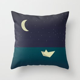 paper boat in the moonlight Throw Pillow