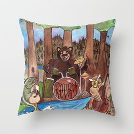 The Rowdy Woodland Band Throw Pillow