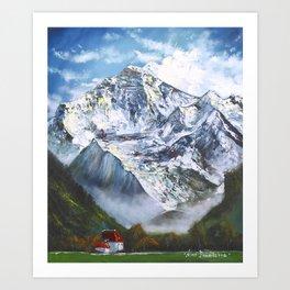 Jungfrau mountain. Swiss Alps Art Print