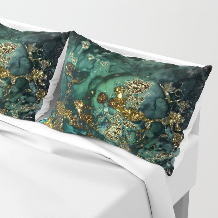 Gold Indigo Malachite Marble Pillow Sham