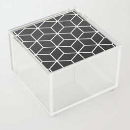 Charcoal and White - Geometric Textured Cube Design Acrylic Box