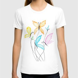 colorful flying butterflies T-shirt