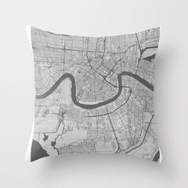 New Orleans Pencil City Map Throw Pillow