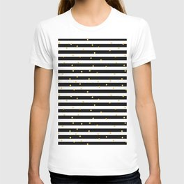 Modern black white gold polka dots striped pattern T-shirt