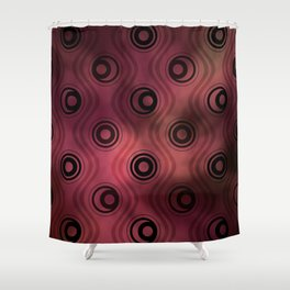 Bold Circle Rings and Wavy Lines on Abstract Blurred Red Patch Background Shower Curtain