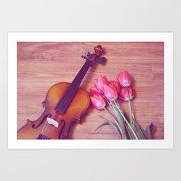 Tulips and violin Art Print