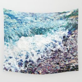 Waves lap at the shore - painting - art gift - abstract Wall Tapestry