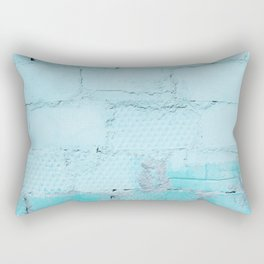 Painted Blue Wall Bricks Rectangular Pillow