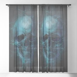 Blue Skull Watercolor Painting Blue Black Print Anatomical Art Medical Office Decor Doctor Gifts Sheer Curtain