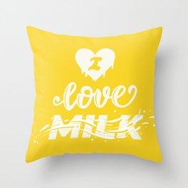 I love milk lettering Throw Pillow