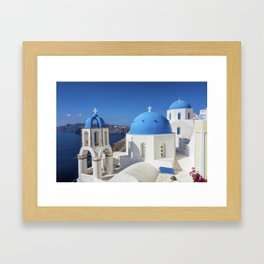 Santorini, Oia Village, Blue and White Church Framed Art Print