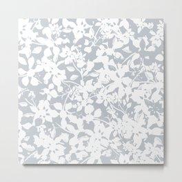 White and Grey Botanical Silhouette Pattern - Broken but Flourishing Metal Print