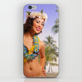"""Aloha"" - The Playful Pinup - Coconut Shell Bikini Pinup Girl by Maxwell H. Johnson iPhone Skin"
