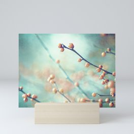 Teal Orange Nature Photography, Turquoise Peach Coral Salmon, Aqua Branch Botanical Mini Art Print