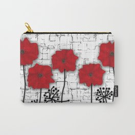 Poppies red n white background . Carry-All Pouch
