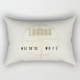London - Vintage Map and Location Rectangular Pillow