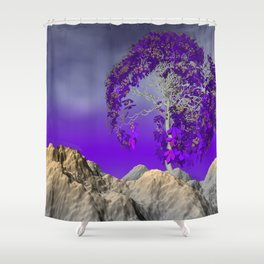 tree and violet horizon Shower Curtain