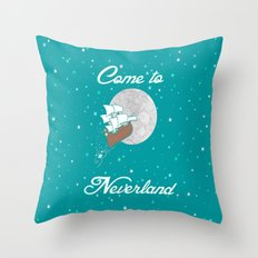 Disney's Peter Pan Neverland in Teal and Mint Throw Pillow