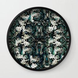Teal Animal Print Pattern Wall Clock