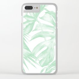 Light Green Tropical Palm Leaves Print Clear iPhone Case