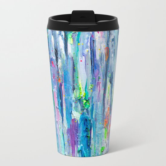 Silver Rain Metal Travel Mug