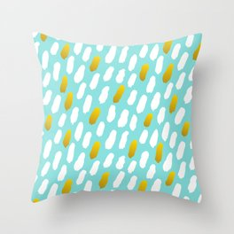 Aqua, Gold And White Brush Strokes Pattern Throw Pillow
