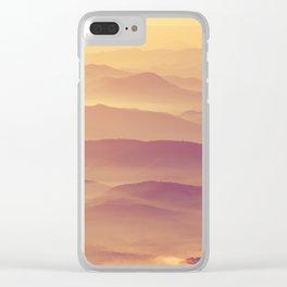 Sunset Rolling Foggy Hills Landscape Photograph Clear iPhone Case