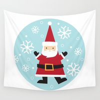 santa Wall Tapestries featuring Santa by Claire Lordon