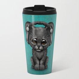 Cute Black Panther Cub Dj Wearing Headphones on Blue Travel Mug
