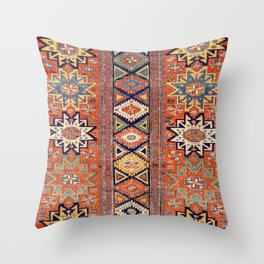 Southwestern Farmhouse III // 19th Century Colorful Red Yellow Blue Green Aztec Farm Stars Pattern Throw Pillow