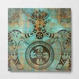Elephants Lotus Flower Distressed Mandala Design Metal Print