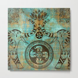 Elephants Lotus Flower Mandala Indian Spiritual Bohemian Zen Meditation Metal Print