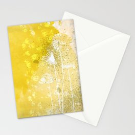 Watercolor Dandelions:  Artistic bold yellow on white Stationery Cards