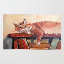 Red cat on a bookshelf Rug