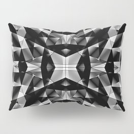 Exclusive mosaic pattern of chaotic black and white fragments of glass, metal and ice floes. Pillow Sham