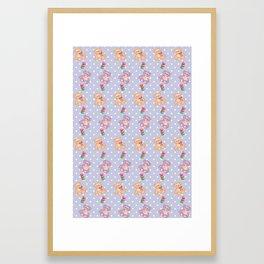 Cute Teddy Bear and Macaron Pattern Framed Art Print