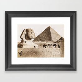 Vintage picture of Egypt Pyramids and Sphinx at Giza Framed Art Print