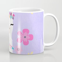 Let's Be Fabulous - Purple Cute Alpaca - Llama with Flowers Coffee Mug