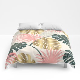 Tropical Print with Gold Comforters