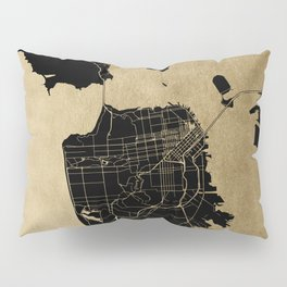 San Francisco California Black and Gold Map Pillow Sham
