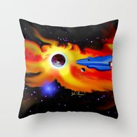 spaceship Throw Pillows featuring Spaceship by JT Digital Art