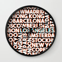 L.A. - City names typo graphic Wall Clock
