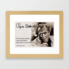 BUKOWSKI - people QUOTE #2 - sepia Framed Art Print