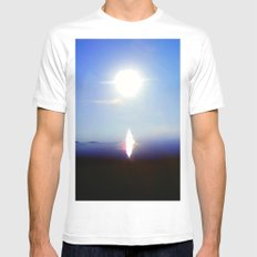 Hi, there!  I arrived at the earth. MEDIUM White Mens Fitted Tee
