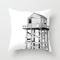 cabin Throw Pillows featuring cabin fever by PAFF