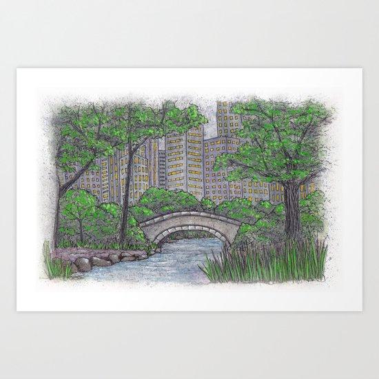 Central Park Bridge NYC Art Print